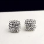 H864 - ต่างหูเพชร ตุ้มหูเพชร ตุ้มหู ต่างหู ต่างหูระย้า เครื่องประดับ square arc full of diamond earrings