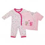 ขายส่งเสื้อผ้าเด็ก ชุดนอน 3 ชิ้น ปักลายแมวน้อยน่ารัก สีชมพูสวยหวาน Size 3, 6, 9 เดือน