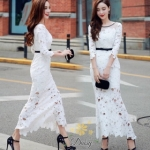 H G เสื้อผ้า ชุดเดรสแฟชั่นเกาหลีสีขาวคอกลม