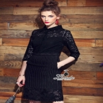 lace striped dress เดรสทรงคอเชิ้ตแขนยาวเลยศอก