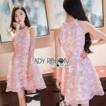 Lady Ribbon Ashley Pretty Feminine Butterfly-Embroidered Pearl Embellished Pink Dress