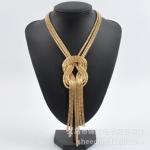 AD1600 - สร้อยคอแฟชั่น,สร้อยคอ,สร้อยแฟชั่น,เครื่องประดับ European and American fashion jewelry alloy multilayer hollow tassel pendant chain short necklace