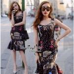 Lady Ribbon Online เสื้อผ้าออนไลน์ขายส่ง very very pretty เสื้อผ้า VP04140816 Smart Casual Polka Dot Print Sleeveless Dress