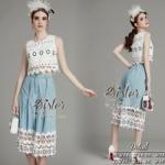 ST07310716 &#x1F340สินค้าพร้อมส่ง&#x1F340 한국에 의해 설계된 2sister made, White Elegant Little Modest Lady Set