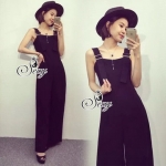 Lady Ribbon Online เสื้อผ้าแฟชั่นออนไลน์ขายส่ง เลดี้ริบบอนของแท้พร้อมส่ง sevy เสื้อผ้า SV09240716 &#x1F389Sevy Black Classic Casual Bib Jumpsuit