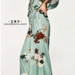 กางเกง ZARA ผ้าพิมพ์ลายดอก แพทเทิร์นขาบาน ทรงสวย งานมีซิปข้างค่ะ ใส่แล้วดูสูงเพรียวเลยค่า