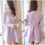 Lady Ribbon Online ขายส่งเสื้อผ้าออนไลน์ Very very pretty VP04030816 Luxury Lace Cut-Out Embroidered Pearls Dress เดรสผ้า