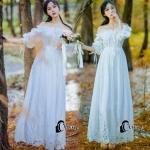 ชุดเดรสเกาหลีสีขาว