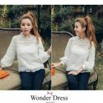 เสื้อลูกไม้เกาหลีที่สาวๆควรมีไว้ติดตู้ค่ะเสื้อตัวนี้ใช้ลูไม้นำเข้าจากเกาหลีฉลุลายนูนสวยงาม