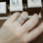Diamond Ring งานเพชร CZ แท้ เหมือนใส่แหวน 4 วง ดีไซส์โมเดิน เกรดจิวเวอรี่ ไม่ลอกไม่ดำ