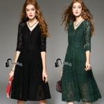 Luxury Lace Dress Long dress ลูกไม้ยาว คอวี