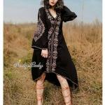 สไตล์สาวโบฮีเมียน ทรงเก๋หน้าสั้นหลังยาว ทรงชุดสวยแต่งปักแน่นทั้งชุด แขนยาว ใต้อกเป็นเชือกสามารถปรับได้ งานสวยมากๆคะ