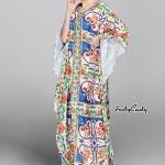 เดรสยาว แบรนด์ Dolce&Gabbana ทรงค้างคาวสวย งานเก๋ งานสวย สีสวยสดใส พิมพ์ลวดลายคมชัด เนื้อผ้า Polyester ผสม เนื้อดี ตรงคอแต่งปัก อย่างดี งานป้าย D&G คะ