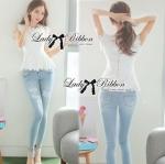 Lady Ribbon Online ขายส่งเสื้อผ้าออนไลน์ ขายส่งของแท้พร้อมส่ง Lady Ribbon LR03250716 &#x1F380 Lady Ribbon's Made &#x1F380 Lady Nicole Classy Flared Sleeveless Lace Top