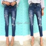 กางเกงยีนส์เอวสูง เนื้อผ้ายีนส์หนายืดหยุ่น ฟอกนิ่ม ทำขาดปะซ้อนผ้าด้านในเก๋ๆ