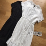 Lady Ribbon Lily Sweet Chic Basic Plain Peplum Lace Dress