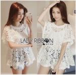 Lady Ribbon Online ขายส่งเสื้อผ้าออนไลน์ ขายส่งของแท้พร้อมส่ง Lady Ribbon LR15250716 &#x1F380 Lady Ribbon's Made &#x1F380 Lady Romy Romantic White Guipure Lace and Cotton Top