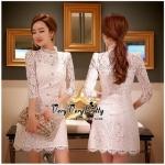Lady Ribbon Online เสื้อผ้าออนไลน์ขายส่ง very very pretty เสื้อผ้า VP01140816 Luxury Lace White embroidery see-through Dress
