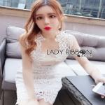 Lady Ribbon Lady White Lace Dress ขายเดรสผ้าลูกไม้