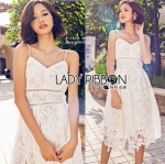 Lady Ribbon Online เสื้อผ้าออนไลน์ขายส่ง Lady Ribbon เสื้อผ้า LR07180816 &#x1F380 Lady Ribbon's Made &#x1F380 Lady Olivia Pure and Classic Strappy White Lace Dress