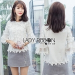 Lady Ribbon Natalia Cotton Cropped Blouse