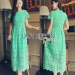 Lady Ribbon Lady Penelope Elegant Feminine Minty Lace Maxi Dress เดรสยาวผ้าลูกไม้