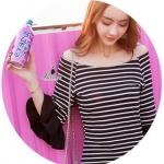 striped lotus leaf sleeve dress เดรสเกาหลีสไตล์