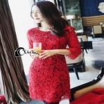 Cliona mini dress สีแดงสด แขน 5 ส่วน