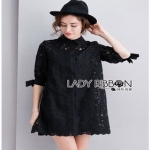 Lady Ribbon Lady Monica Sweet Minimal White Lace Shirt Dress