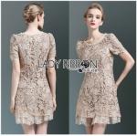 Lady Ribbon ขายส่งเสื้อผ้าออนไลน์พร้อมส่งของแท้ LR15220716 &#x1F380 Lady Ribbon's Made &#x1F380 Lady Jennie Sweet Feminine Nude Guipure Lace Dress เ