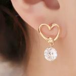 H831 - ต่างหูแฟชั่น ต่างหูหนีบ ต่างหูเกาหลี ตุ้มหูแฟชั่น ตุ้มหู ต่างหู เครื่องประดับ love peach heart earrings