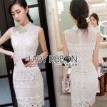 Lady Ribbon Harley Smart Feminine Sleeveless Mixed Lace Shirt Dress