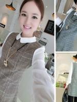 เดรสแฟชั่นเกาหลีแขนยาว คอปก แขนเสื้อทำด้วยผ้าชีฟองมีซิปด้านหลัง(ซ่อนซิป)