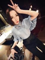 เสื้อแฟชั่นเกาหลี คอปกแต่งด้วยลูกปัดมุก ผ้าชีฟองซีทรู มี 2 สี