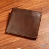 กระเป๋าสตางค์ผู้ชาย หนังแท้ ทรงสั้น Leather - สีน้ำตาลเข้ม