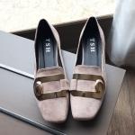 SH_1493 (pre-order) รองเท้ากำมะหยี่ พับได้ 1.5cm, 2017, Shoes, Black-Grey-Red, Size 35-39