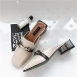 SH_1507 (pre-order) รองเท้าหัวตัดส้นหนา แท้ตามภาพ, 2017, Shoes, WhiteGrey-Dark Green-Brown