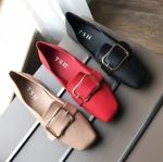 SH_1494 (pre-order) รองเท้าหนังส้นเตี้ย พับได้, 2017, shoes, Beige-Red-Black, Size 35-39