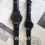 นาฬิกาข้อมือ หน้าปัดเล็ก คู่หน้าปัดใหญ่ ดำล้วน รุ่น WEESLY