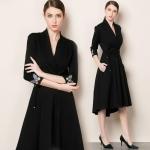 DR_9117 (pre-order) ชุดเดรสยุโรปสีดำ ปักผีเสื้อชายแขน, 2017, Dress, Black, S-M-L-XL-XXL