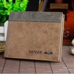 กระเป๋าสตางค์ผู้ชาย ทรงสั้น รุ่น YATEER JR1 - สีน้ำตาล