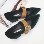 SH_1492 (pe-order) รองเท้ากำมะหยี่สีดำ-สีเขียวเข้ม 3.5cm, 2017, Shoes, Black-Green, Size 35-39