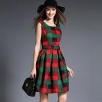 DR_9077 (pre-order) ชุดเดรสลายสก๊อต แท้ 100%, 2017, Dress, Green&Red, S-M-L-XL