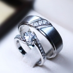 CZ Diamond Sterling Silver Ring with Rhodium Plated : LV15071561 TW thunder & 0.60 Carat Dazzling