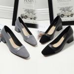 SH_1495 (pre-order) รองเท้าคัทชูส้นสูงหนังแกะ 4.5cm, 2017, Shoes, Black-Grey, Size 34-41