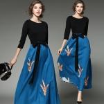 DR_9078 (pre-order) ชุด Maxi Dress สไตล์ยุโรป, 2017, Dress, Blue, S-M-L-XL-XXL