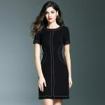 DR_9047 (pre-order) ชุดเดรสยุโรป สีดำแขนสั้น, 2017, Dress, Black, S-M-L-XL-XXL