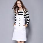DR_8942 (pre-order) ชุดเสื้อลายขวางพร้อมเอี๊ยมขาว, 2016, Top+ Dress, S-XXL