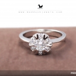 CZ Diamond Sterling Silver Ring with Rhodium Plated : RG1574 0.50 carat crown