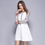DR_8945 (pre-order) ชุดเดรสแขนยาวสีขาวลายสก๊อต, 2016, Dress, White, S-M-L-XL-XXL